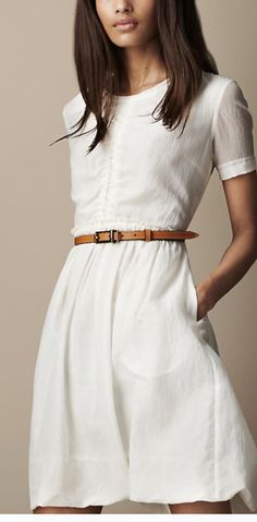 Gorgeous short sleeve button down white dress with tan belt.  Stitch fix fall 2016.  It has pockets!