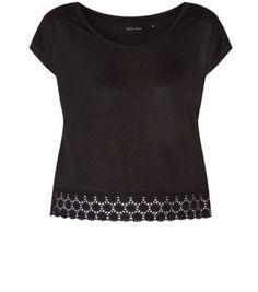 New Look - Black Crochet Daisy Hem T-Shirt