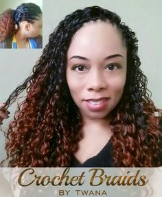 Twana wearing Crochet Braids with Freetress Deep Twist in color TT350. 5 packs installed full length then trimmed. Braid pattern, 12 front cornrows going straight back and 5 rear cornrows from ear-to-ear. #crochetbraids #protectivestyles #hairextensions #braids #deeptwist #350 #longcrochetbraids #crochetbraidsbytwana www.crochetbraidsbytwana.com