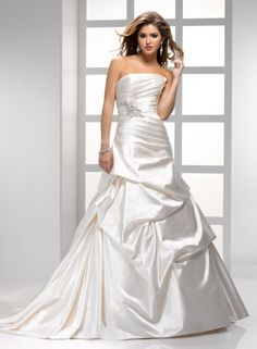 A-line Strapless Soft Draped Bodice Beaded Sash Satin Wedding Dress-wa0229, $249.95