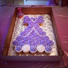 Elodie's second birthday sofia the first dress cupcake cake