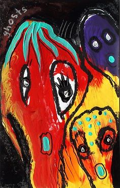 original LABEDZKI abstract outsider art GHOSTS 5x8 in mixed media on paper