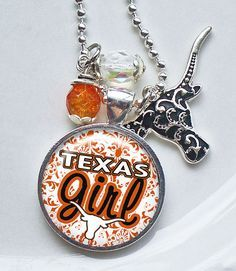 Texas girl but not a longhorn fan? Can change the color to match your preferences. Texas Longhorns Football, Ut Longhorns, Dallas Cowboys, Eyes Of Texas, Texas Jewelry, Hook Em Horns, Texas Forever, Loving Texas, Texas Pride