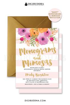 Blush pink stripes Monograms and Mimosas bridal shower invitation with gold glitter brush script lettering and watercolor flowers.  Choose from ready made printed invites or printable monograms and mimosas invitations.  Gold shimmer envelopes and matching envelope liners also available.  digibuddha.com