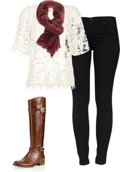 Boots, black and cream