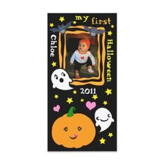 First Halloween Kawaii Custom Photo Card #Halloween #zazzle #jamiecreates1 #gifts