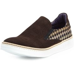 Robert Graham Hanover Check Suede Slip-On Sneaker ($181) found on Polyvore featuring men's fashion, men's shoes, men's sneakers, brown, mens suede shoes, mens slip on sneakers, mens suede slip on shoes, mens brown shoes and mens brown suede shoes