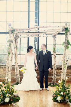 Birch branch chuppah arch. French market wedding, Chicago Floral Design by annaheldflorist.com/