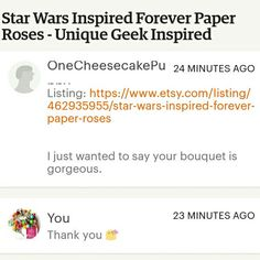 What a lovely message to wake up to 😍😘 thank you 😘 #craftyjujudesigns #craftyjujusweddingtreats #thankyou #love #lovely #etsy #starwars #starwarsflowers #weddingflowers #wedding #foreverflowers