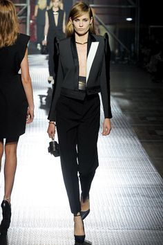 love the added touch of white on the lapel- asymmetry rules @Lanvin Spring13