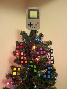 Gameboy Tetris Perler Bead Christmas Tree Topper by LighterCases, $30.00