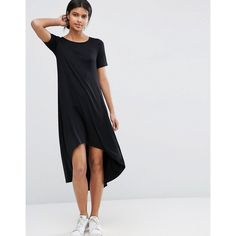 ASOS T-Shirt Dress with Dipped Hem ($33) ❤ liked on Polyvore featuring dresses, black, rayon dress, short sleeve dress, hi lo dresses, asos dresses and jersey dress