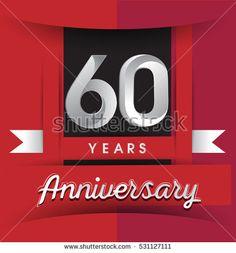 60 years anniversary logo with white ribbon isolated on red background, flat design style, Vector template elements for birthday celebration.