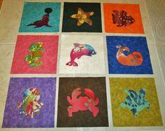 Set of 9 Applique 6 x 6  Quilt Blocks  ... Batik by MarsyesShoppe