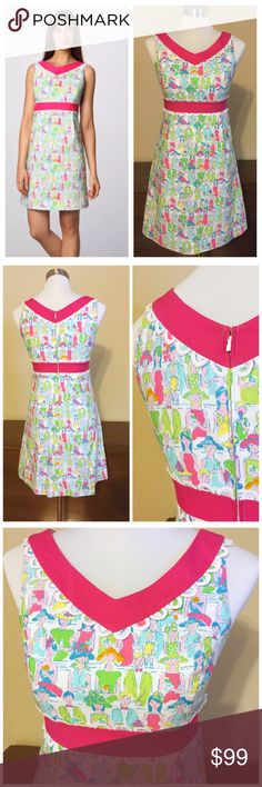 """❌SOLD❌ Lilly Pulitzer Giddy Up Del Mar Derby Dress Lilly Pulitzer Originals Giddy Up Del Mar Derby Dress 2 --- Gorgeous dress from the Lilly Pulitzer Originals Line --- What an awesome print: ladies and gentlemen dressed up with hats, drinks, and even baby in tow --- hidden back zipper --- shell is 80% cotton 20% polyester --- fully lined in 100% cotton --- bust 17"""" --- natural waist 14.5"""" --- 33.5""""length --- excellent pre-loved condition, no wear  no tears, no stains --- tag me if you would…"""
