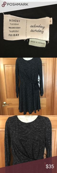 Anthropologie Saturday Sunday grey wrap dress S Gently worn Anthropologie Saturday Sunday dark charcoal gray wrap dress with 3 quarter length scrunchy sleeves • very soft fabric • No visible flaws: great condition • reasonable offers always accepted ⭐️ Anthropologie Dresses Mini