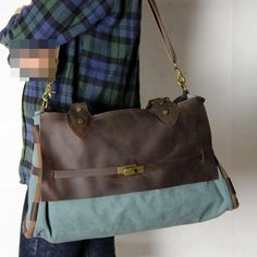 Luggage Bag Leather Canvas Travel Bag Briefcase by Whatleather, $366.00