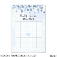 Blue Confetti Bridal Shower Bingo Card