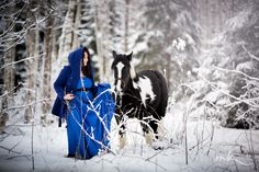 Fantasy photography, girl with horse in winter forest, fairy tail, beautiful photo idea, blue blach and white, photographer Maaris Puust from MK Foto. (Fotograaf Maaris Puust, MK Foto), Estonia, Eesti,