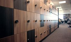 Beautiful wooden design lockers, special customized and fabricated for the Starbucks Coffee Company