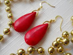 """1 1/2"""" Teardrop Red Turquoise Beads on Gold Bail Earrings by maryannsway on etsy"""