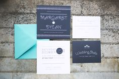 Slate and Tiffany Blue invitation suite. Love this color combo.