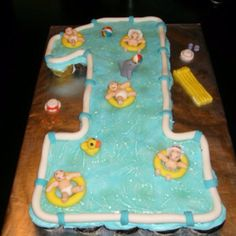 Baby 1st bday pool party cake By Jennifer Borchert's Cakes Jenniferncbt@yahoo.com