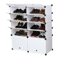 Unicoo - Multi Use DIY Plastic 10 Cube Shoe Rack ,Organizer, Bookcase, Shoes Cabinet (White Wood Grain ) Shoe Organizer, Toy Organization, Organizers, Bookshelves Kids, Bookcase, Storage Shelves, Book Shelves, Shoe Cabinet, Cool Things To Buy