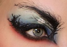 The night sky. | This Makeup Artist Paints Incredibly Intricate Scenes On Her Eyelids