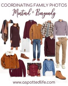 Need inspiration for a color-coordinated family photo shoot? One option is mustard+burgundy. Each of these pieces are linked for you. #familypictures #familyphotography #familyphotos #familyphotoshoot #familyphotooutfits #matchingoutfits #christmascardideas #christmascardideasforfamily