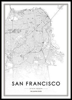 San Francisco Map Poster i gruppen Posters / Kartor & städer hos Desenio AB Modern Art Prints, Wall Art Prints, Poster Prints, Maps Posters, Dia San Francisco, Poster Poster, Buy Posters Online, Art Online, Home Decor Ideas