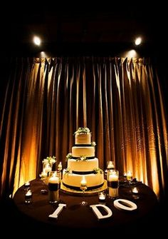 """tags: """"v3 weddings & events"""" cake brown candles decor reception details i do letters cutting lighting"""