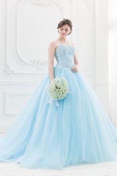 ブルーのふんわり鮮やかなバレリーナ カラードレス|SS5982BL