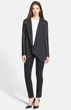 Theory Leather Sleeve Jacket & Crop Wool Trousers  available at #Nordstrom