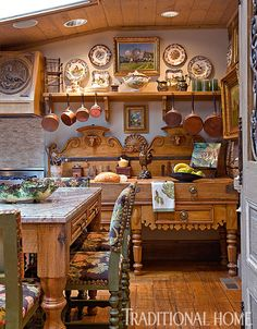 Kitchen by Charles Faudree, with 18th century French butcher block.