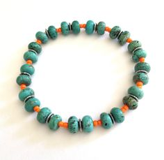 "Turquoise Gemstone & Orange Glass Seed Beaded Stretch Bracelet 7"" by HoneyBeeadsJewelry on Etsy"