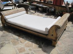 Bali bed on terrace facing the ocean