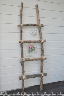 DIY Ladder -- I can tie the light bulb vases to it! AAAHHHH!!