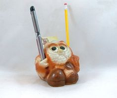 1970s Ceramic Owl Pencil Holder  Business Card by leapinglemming, $14.95