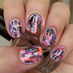 This is my fourth and last manicure for this month's summer theme for The Nail Challenge Collaborative . I decided to do a neon inspired dis. Fancy Nails, Love Nails, My Nails, Pretty Nail Designs, Nail Art Designs, Gorgeous Nails, Pretty Nails, Crackle Nails, Nail Pictures