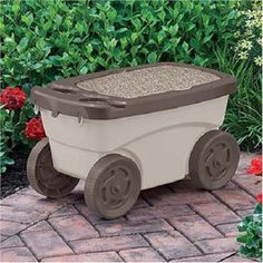 Bon Garden Scooter Cart Seat Cushion Drink Holder Wagon Tools Storage Portable  New $53.49