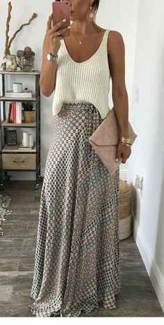 Brilliant Spring Outfits To Copy Now, Summer Outfits, For a simple and super cute spring look, pair a knit tank with a printed maxi skirt. Let Daily Dress Me help you find the perfect outfit for whatever . Spring Fashion Trends, 50 Fashion, Fashion Over 40, Look Fashion, Latest Fashion Trends, Fashion Outfits, Street Fashion, Womens Fashion, Ladies Fashion
