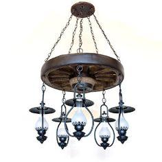 Copper Canyon Old Colorado Wagon Wheel 5 Light Lantern Chandelier #RusticLighting #WagonWheelLighting