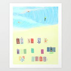 "Illustration from the book ""I feel like we don't belong here"" by Larv & Mib  My summer dream  Beach full of joy"