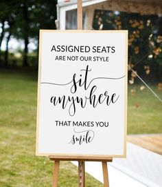 Wedding Ideas Discover Wedding seating sign Rustic wedding decor Wedding signs Assigned seats are not our Sit anywhere sign Pick a seat sign Open seating Wedding Seating Signs, Wedding Ceremony Signs, Decor Wedding, Wedding Ceremonies, Outdoor Wedding Seating, Diy Wedding Signs, Lake Wedding Decorations, Outdoor Wedding Signs, Wedding Sayings
