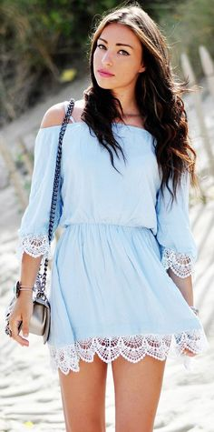 Thira Blue Off-Shoulder Dress with Crochet Hem