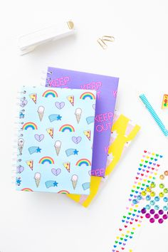 Several months ago we shared some free printable notebook covers and since they were SUCH an easy way to makeover a plain notebook, we thought we'd share a second round today just in time for the end of back to school season! Our pal Violet Clair designed these and I love how happy and bright…