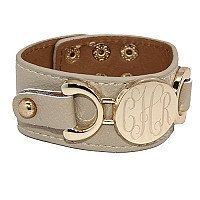 Fun Monogram Bracelet Leather Snap Cuff with Gold by netexchange