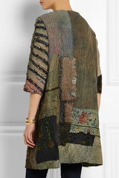 By Walid | Embroidered paneled textured-silk coat | NET-A-PORTER.COM