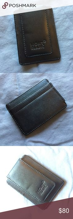 NWOT MontBlanc Wallet/Money Clip Black, leather, compact wallet. Unsure of the exact product name but it has a magnetic money clip and slots for credit cards. Never used! Perfect condition! Great for traveling or times when you don't need a bulky wallet! Montblanc Accessories Money Clips